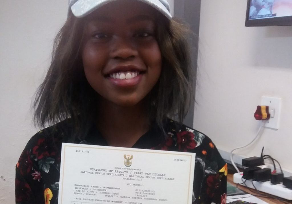Mongalo Neo (Matric 2017) obtained seven distinctions in all subjects( English first additional, Setswana Home Language, Physical Sciences, Mathematics, Life Sciences, Geography, Life orientation.